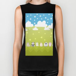 Cute Animals Art, Colorful Art with Clouds, Stars, Grass And Blue Sky Biker Tank
