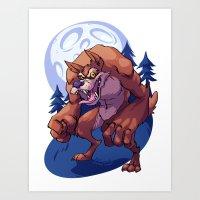 werewolf Art Prints featuring Werewolf by Frankie Green