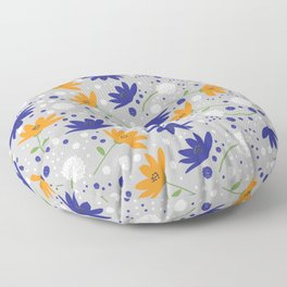 Blue, Orange, and White Flowers on Gray Background Floor Pillow