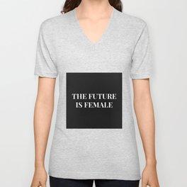 The future is female black-white Unisex V-Neck