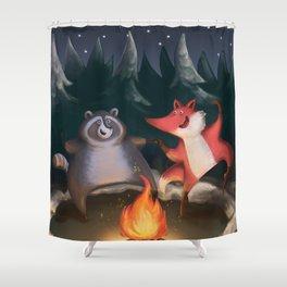 Fox trotting (around the campfire)  Shower Curtain