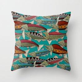 Alaskan salmon teal Throw Pillow