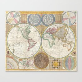 1794 Laurie & Whittle Old Map of the World Canvas Print