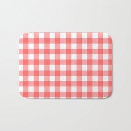 Red gingham fabric cloth, seamless pattern Bath Mat
