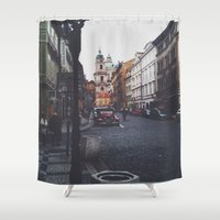 prague Shower Curtains featuring PRAGUE by REASONandRHYME