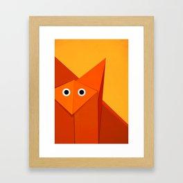 Geometric Cute Origami Fox Portrait Framed Art Print