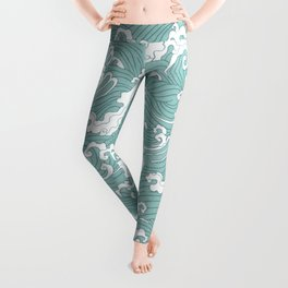Traditional Hand Drawn Japanese Wave Ink Leggings