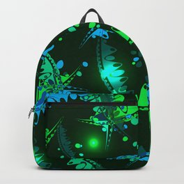 Glowing pattern of delicate leaves and petals of garden plants in blue and green tones. Backpack