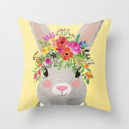 Rabbit with floral crown Throw Pillow