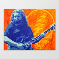 grateful dead Canvas Prints featuring Jerry Garcia - The Grateful Dead by Tipsy Monkey