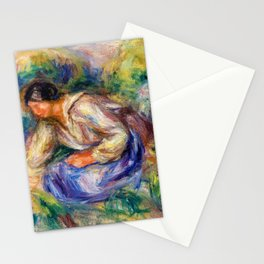 12,000pixel-500dpi - Pierre-Auguste Renoir - Woman In Blue Skirt - Digital Remastered Edition Stationery Cards