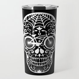 Vintage Mexican Skull with Bicycle - White on Black Travel Mug
