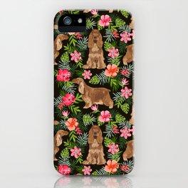 Cocker Spaniel hawaiian tropical print with dog breeds cocker spaniels iPhone Case