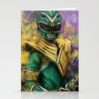 power ranger Stationery Cards featuring Green Mighty Morphin Power Ranger by SachsIllustration