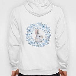 Rabbit and floral wreath. Watercolor Hoody