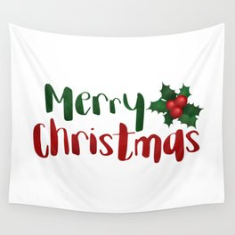 Merry Christmas | Red And Green Holly Wall Tapestry