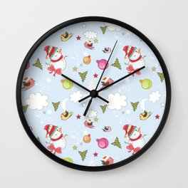 Christmas Elements Collage 1 Wall Clock