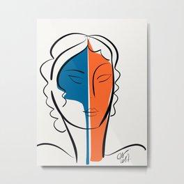 Pop Minimal Portrait in Blue and Orange Metal Print