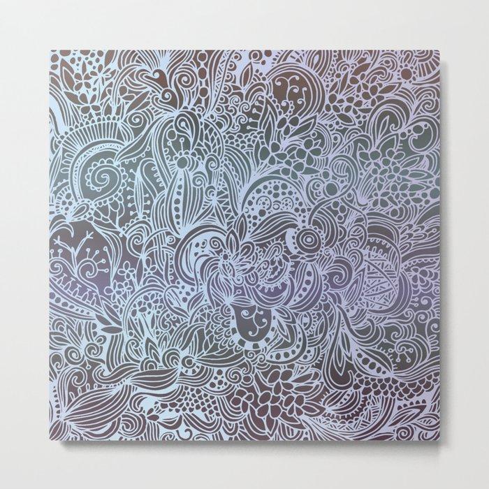 Detailed square, grey'n wedgwood Metal Print