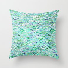 Marble Mosaic in Mint Quartz and Jade Throw Pillow