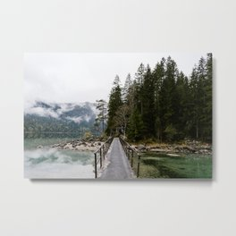 Lake bridge to nature - art print Metal Print