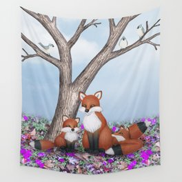 fox, cubs and tufted titmice Wall Tapestry