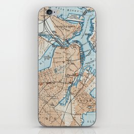Vintage Map of Boston MA (1906) iPhone Skin