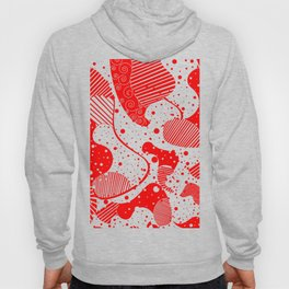 Red & White Modern Abstract Design Hoody