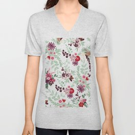 Abstract red pastel green pink country floral pattern Unisex V-Neck