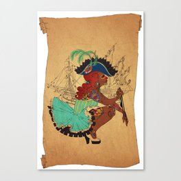 Tattooed Lady Pirate Canvas Print