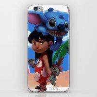 lilo and stitch iPhone & iPod Skins featuring Lilo & Stitch by Archiri Usagi