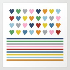 Hearts Stripes Art Print