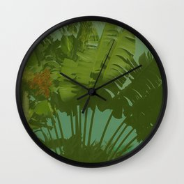 Faux Vintage Tropical Fabric Wall Clock