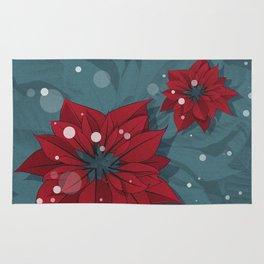 Poinsettias - Christmas flowers   BG Color II Rug