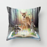 roald dahl Throw Pillows featuring Believe In Magic • (Bambi Forest Friends Come to Life) by soaring anchor designs