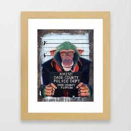 Monkey mugshot Framed Art Print