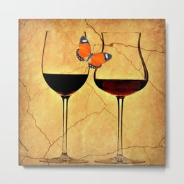 Wine Setting For Two Metal Print