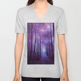 Fantasy Forest Path Purple Pink Unisex V-Neck