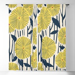 vintage, retro yellow, red and navy flower pattern Blackout Curtain