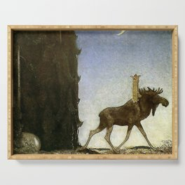 """Leap the Elk"" Watercolor by John Bauer Serving Tray"