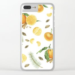 Tangerines, spices and branches of tree Clear iPhone Case