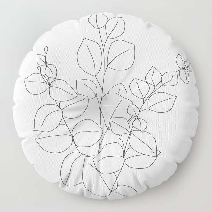 Minimalistic Eucalyptus  Line Art Floor Pillow