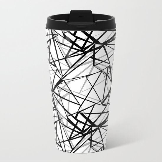 Black and white abstract geometric pattern . Metal Travel Mug