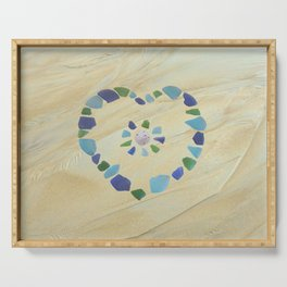 Seaglass heart Serving Tray