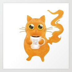 Coffee First Cat Art Print