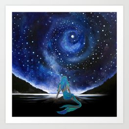 MERMAID STARRY NIGHT Art Print
