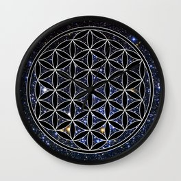 Flower of life in the space Wall Clock