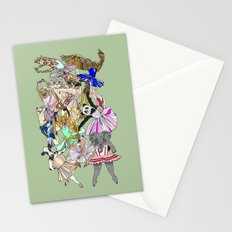 Animal Ballet Hipsters - Green Stationery Cards