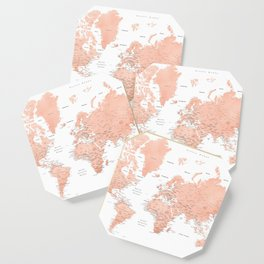 """Rose gold world map with cities, """"Hadi"""" Coaster"""