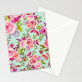Watercolor pink violet lucite green modern floral Stationery Cards